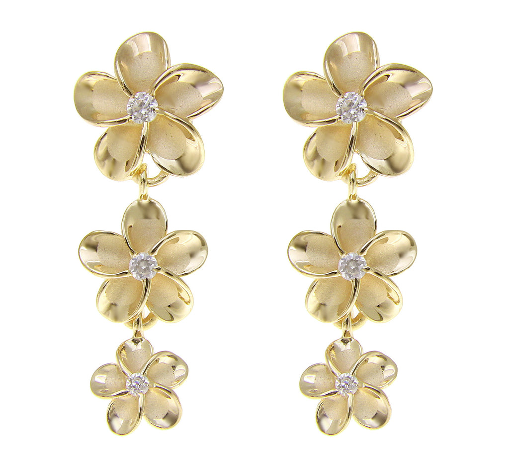 YELLOW GOLD PLATED SILVER 925 HAWAIIAN 3 PLUMERIA FLOWER DANGLE EARRINGS