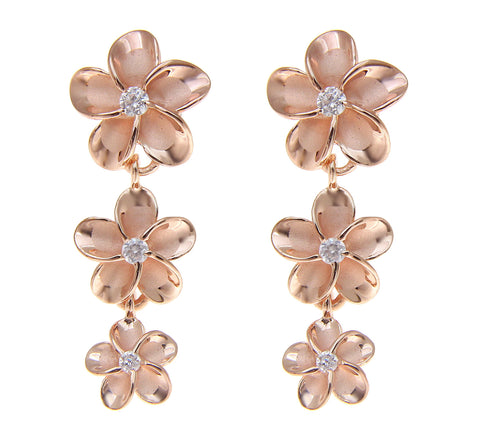 ROSE GOLD PLATED STERLING SILVER 925 HAWAIIAN 3 PLUMERIA FLOWER DANGLE EARRINGS