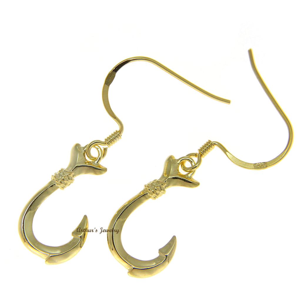 YELLOW GOLD STERLING SILVER 925 SHINY HAWAIIAN FISH HOOK WIRE HOOK ...