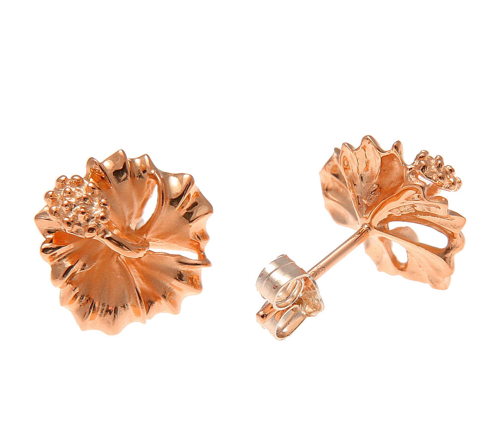 Rose gold on silver 925 hawaiian hibiscus flower stud post earrings rose gold on silver 925 hawaiian hibiscus flower stud post earrings 10mm 15mm izmirmasajfo