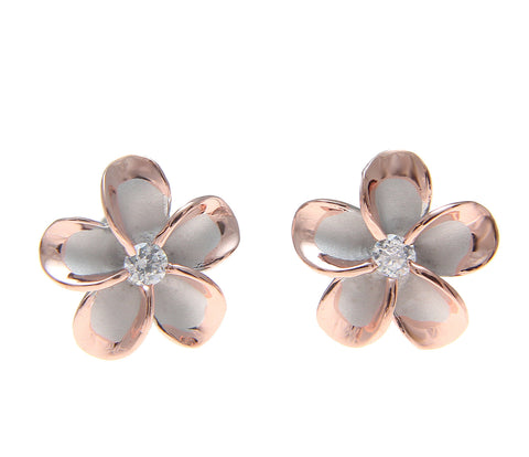 12MM SILVER 925 HAWAIIAN PLUMERIA FLOWER POST EARRINGS RHODIUM PINK ROSE GOLD 2T