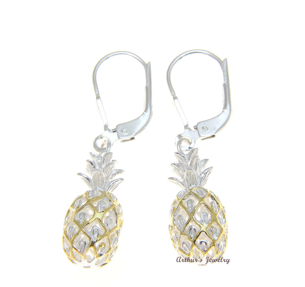 925 STERLING SILVER 2 TONE YELLOW HAWAIIAN PINEAPPLE DANGLING LEVERBACK EARRINGS
