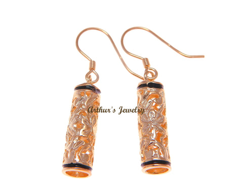 ROSE GOLD PLATED SILVER 925 HAWAIIAN PLUMERIA SCROLL BARREL HOOK EARRINGS