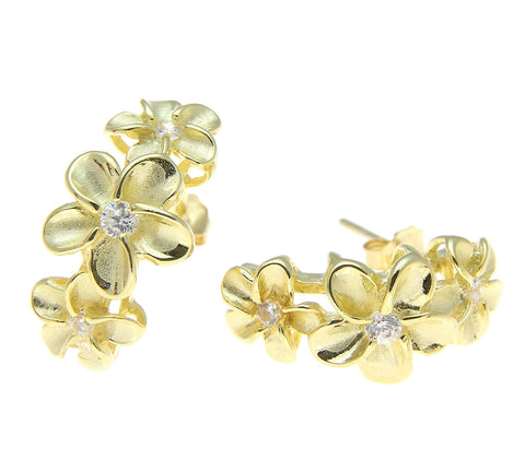 YELLOW GOLD PLATED STERLING SILVER 925 HAWAIIAN PLUMERIA FLOWER HOOP EARRINGS