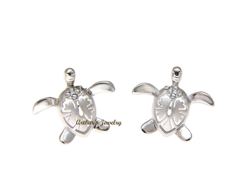 STERLING SILVER 925 HAWAIIAN HONU TURTLE HIBISCUS STUD POST EARRINGS CZ 15.40MM