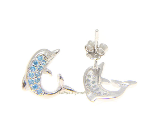 925 Sterling Silver Blue Topaz Hawaiian Dolphin Post Stud Earrings