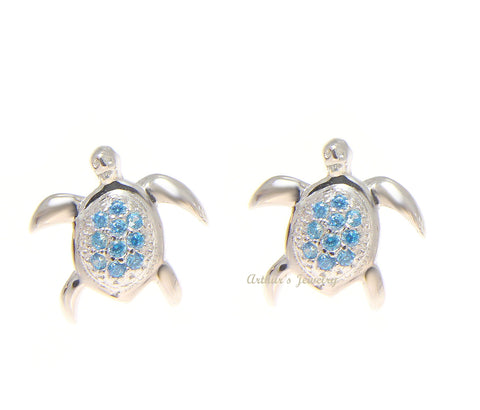925 Sterling Silver Blue Topaz Hawaiian Honu Turtle Post Stud Earrings