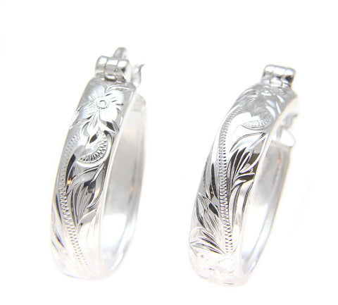20MM STERLING SILVER 925 HAWAIIAN PLUMERIA FLOWER SCROLL OVAL HOOP EARRINGS
