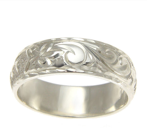 925 SILVER PERSONALIZED CUSTOM 8MM HAWAIIAN PLUMERIA SCROLL RING RAISED LETTERS