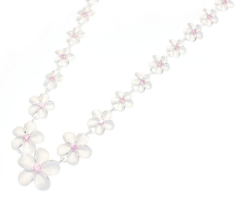 SILVER 925 HAWAIIAN PLUMERIA FLOWER NECKLACE PINK CZ 8MM-15MM 17""