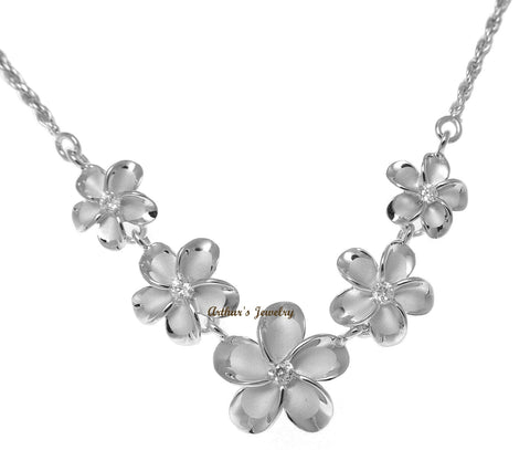 925 STERLING SILVER RHODIUM PLATED HAWAIIAN PLUMERIA FLOWER ROPE CHAIN NECKLACE