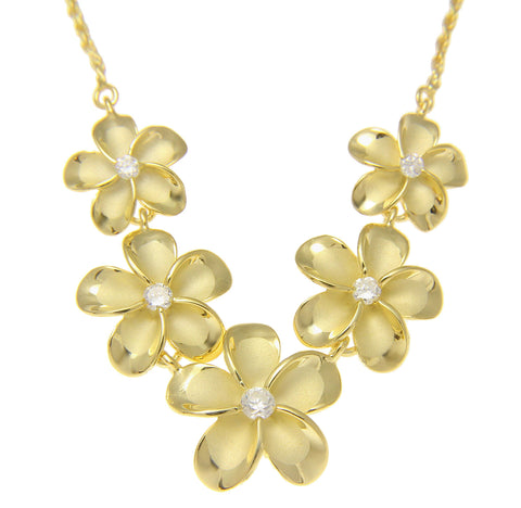 YELLOW GOLD STERLING SILVER 925 5 HAWAIIAN PLUMERIA FLOWER NECKLACE LARGE