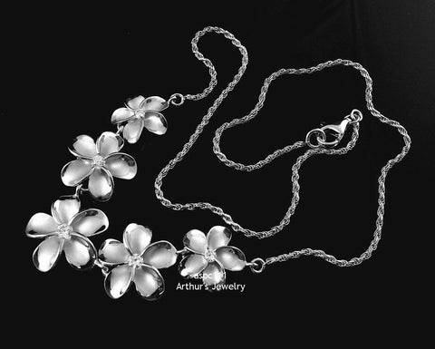 STERLING SILVER 925 RHODIUM 5 HAWAIIAN PLUMERIA FLOWER NECKLACE LARGE