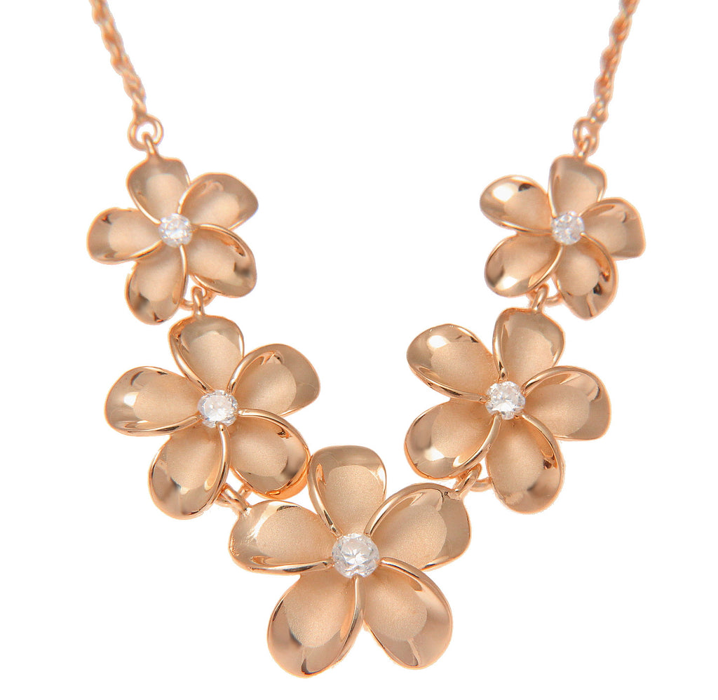 PINK ROSE GOLD PLATED SILVER 925 5 HAWAIIAN PLUMERIA FLOWER NECKLACE