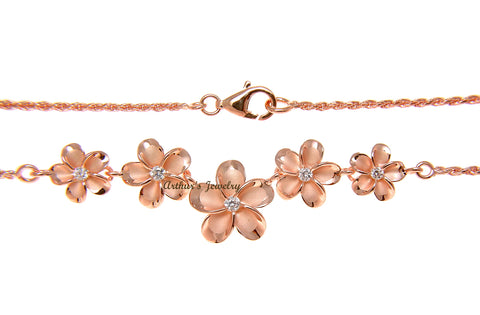 925 STERLING SILVER PINK ROSE GOLD HAWAIIAN PLUMERIA FLOWER ROPE CHAIN NECKLACE