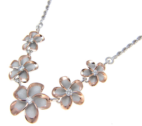 SILVER 925 5 HAWAIIAN PLUMERIA FLOWER NECKLACE RHODIUM PINK ROSE GOLD 2 TONE