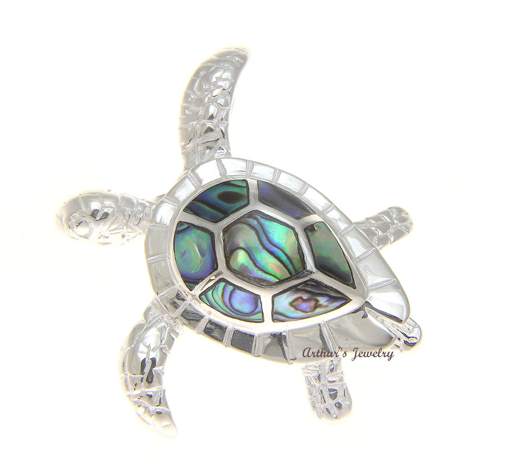 Abalone Paua Shell & 925 Sterling Silver Pendant 2AuGLP