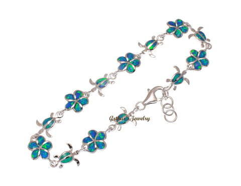 INLAY OPAL SILVER 925 HAWAIIAN 9.5MM PLUMERIA FLOWER HONU SEA TURTLE LINK BRACELET 7""