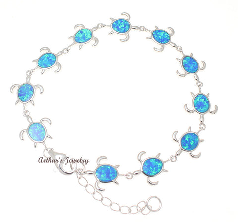 INLAY OPAL STERLING SILVER 925 HAWAIIAN HONU TURTLE BRACELET 7 INCH + EXTENSION