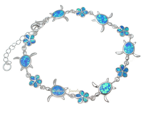 INLAY OPAL STERLING SILVER 925 HAWAIIAN PLUMERIA FLOWER HONU TURTLE BRACELET