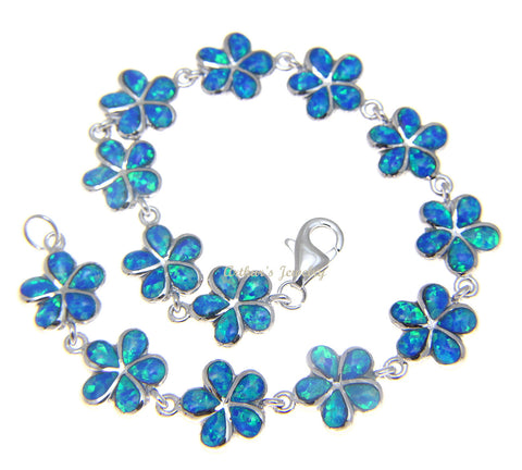 925 Sterling Silver Rhodium Hawaiian 11mm Plumeria Flower Opal Bracelet 7.5""
