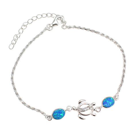 "925 Silver Rhodium Hawaiian Sea Honu Turtle CZ Blue Opal Rope Chain Bracelet 7""+"