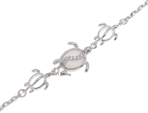 "925 Silver Rhodium Hawaiian Honu Turtle CZ White Opal Link Chain Anklet 9.5""+"