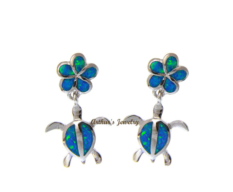 925 Sterling Silver Hawaiian Plumeria Flower Honu Sea Turtle Opal Post Earrings