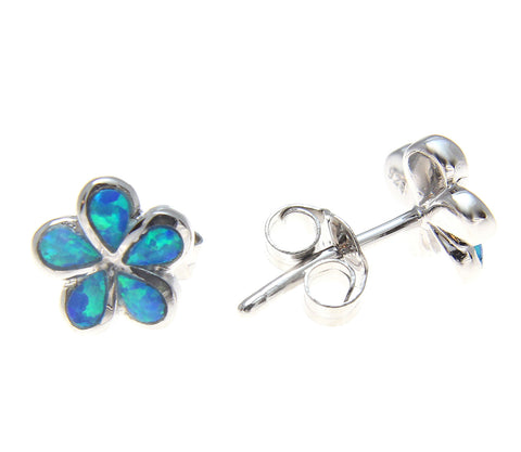 INLAY OPAL STERLING SILVER 925 HAWAIIAN PLUMERIA FLOWER STUD POST EARRINGS 8MM