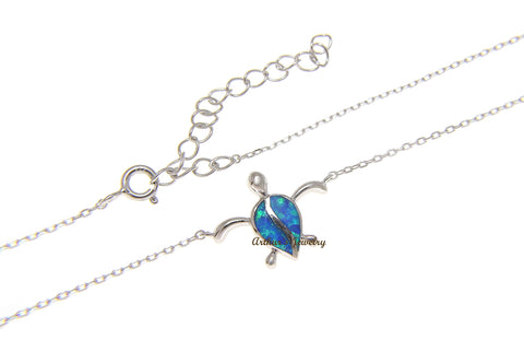 "925 Sterling Silver Hawaiian Turtle Honu Opal Necklace Chain Included 18""+2"""