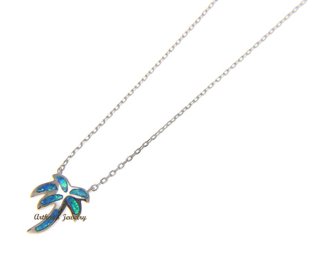 "925 Sterling Silver Hawaiian Palm Tree Blue Opal Necklace Chain Included 18""+2"""