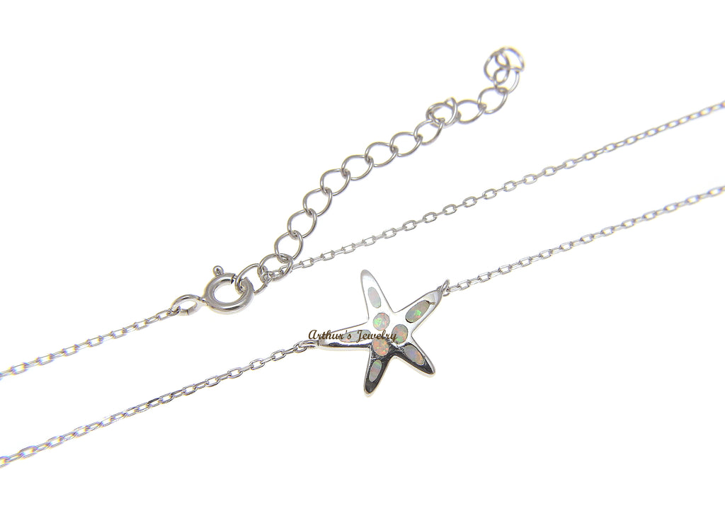 "925 Silver Hawaiian Starfish Sea Star White Opal Necklace Chain Included 18""+2"""