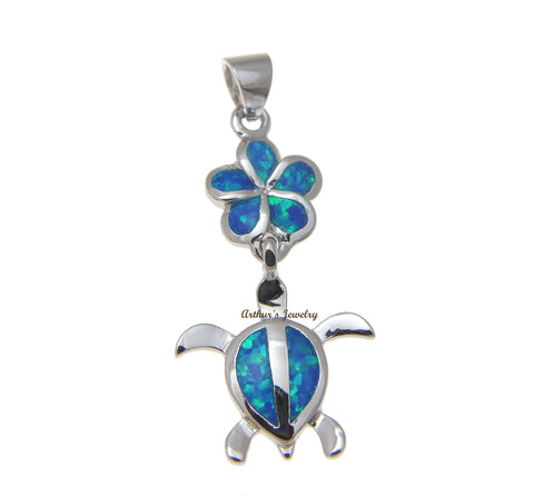 INLAY OPAL HAWAIIAN PLUMERIA HONU SEA TURTLE PENDANT 925 STERLING SILVER 15MM