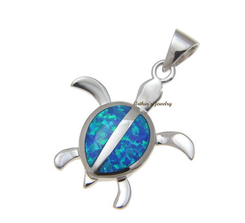 INLAY OPAL HAWAIIAN HONU SEA TURTLE PENDANT SOLID 925 STERLING SILVER 24.60MM