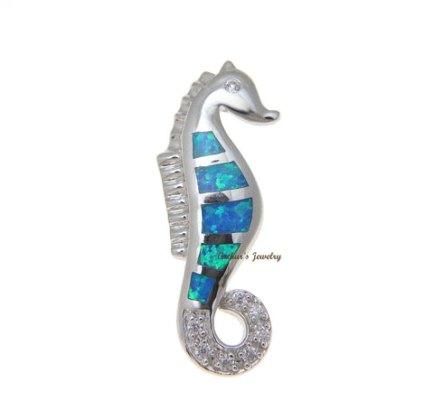 INLAY OPAL HAWAIIAN SEAHORSE SLIDE PENDANT CZ HEAVY 925 STERLING SILVER 11MM