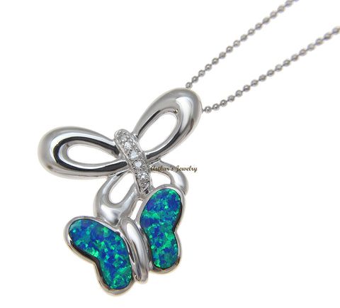 INLAY OPAL HAWAIIAN BUTTERFLY SLIDE PENDANT CZ SOLID 925 STERLING SILVER 28.50MM