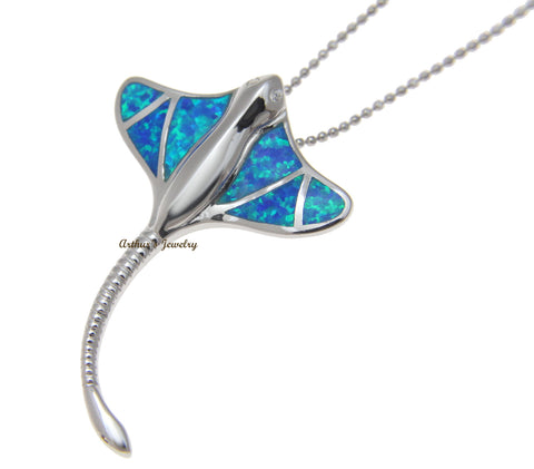 INLAY OPAL HAWAIIAN LONG TAIL STINGRAY SLIDE PENDANT 925 STERLING SILVER 29MM