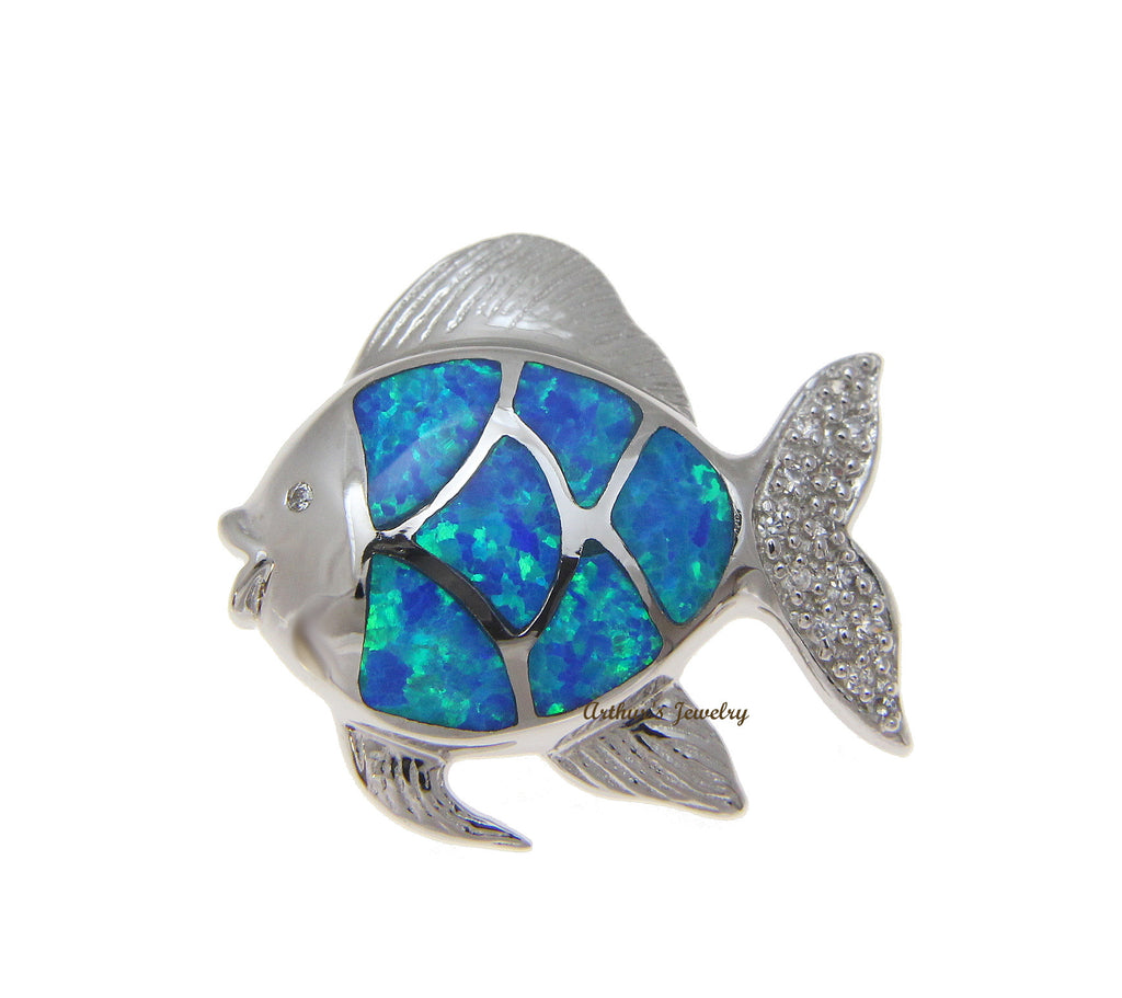 INLAY OPAL HAWAIIAN GOLD FISH SLIDE PENDANT CZ HEAVY 925 STERLING SILVER 23.25MM