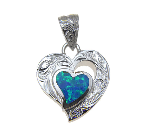 INLAY OPAL HEART HAWAIIAN SCROLL PENDANT THICK HEAVY SOLID 925 STERLING SILVER