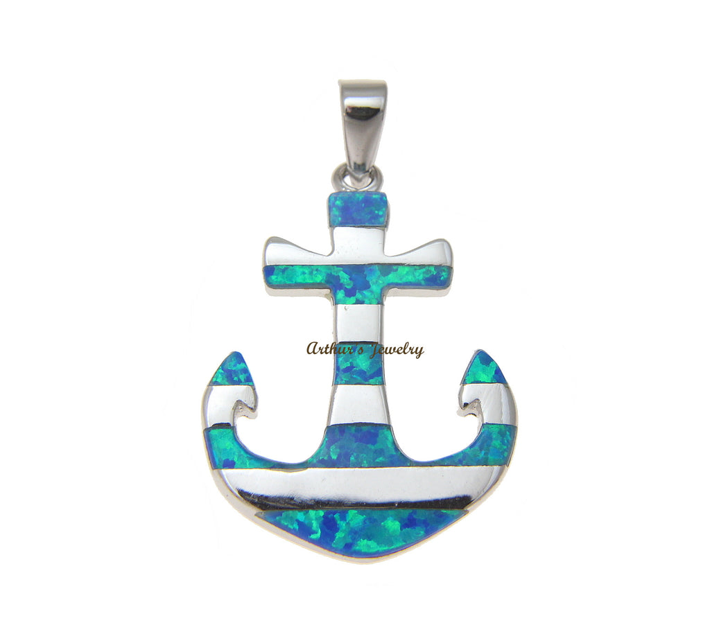 GENUINE INLAY OPAL HAWAIIAN ANCHOR PENDANT HEAVY SOLID 925 STERLING SILVER