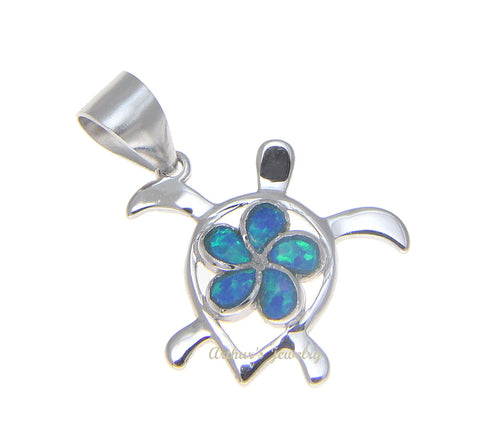 925 Silver Rhodium Hawaiian Plumeria Flower Honu Sea Turtle Blue Opal Pendant