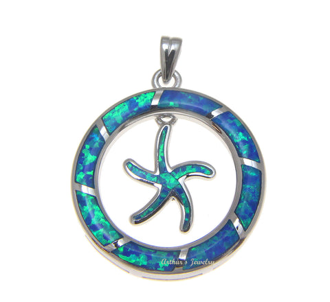 INLAY OPAL HAWAIIAN SEA STARFISH DANGLE CIRCLE PENDANT SOLID 925 STERLING SILVER