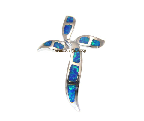 21MM SOLID 925 STERLING SILVER 9 INLAY HAWAIIAN OPAL CROSS PENDANT