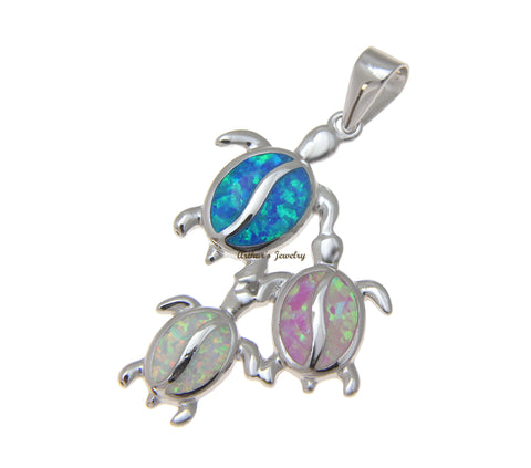 INLAY BLUE PINK WHITE OPAL HAWAIIAN HONU TURTLE FAMILY PENDANT 925 SILVER 20MM