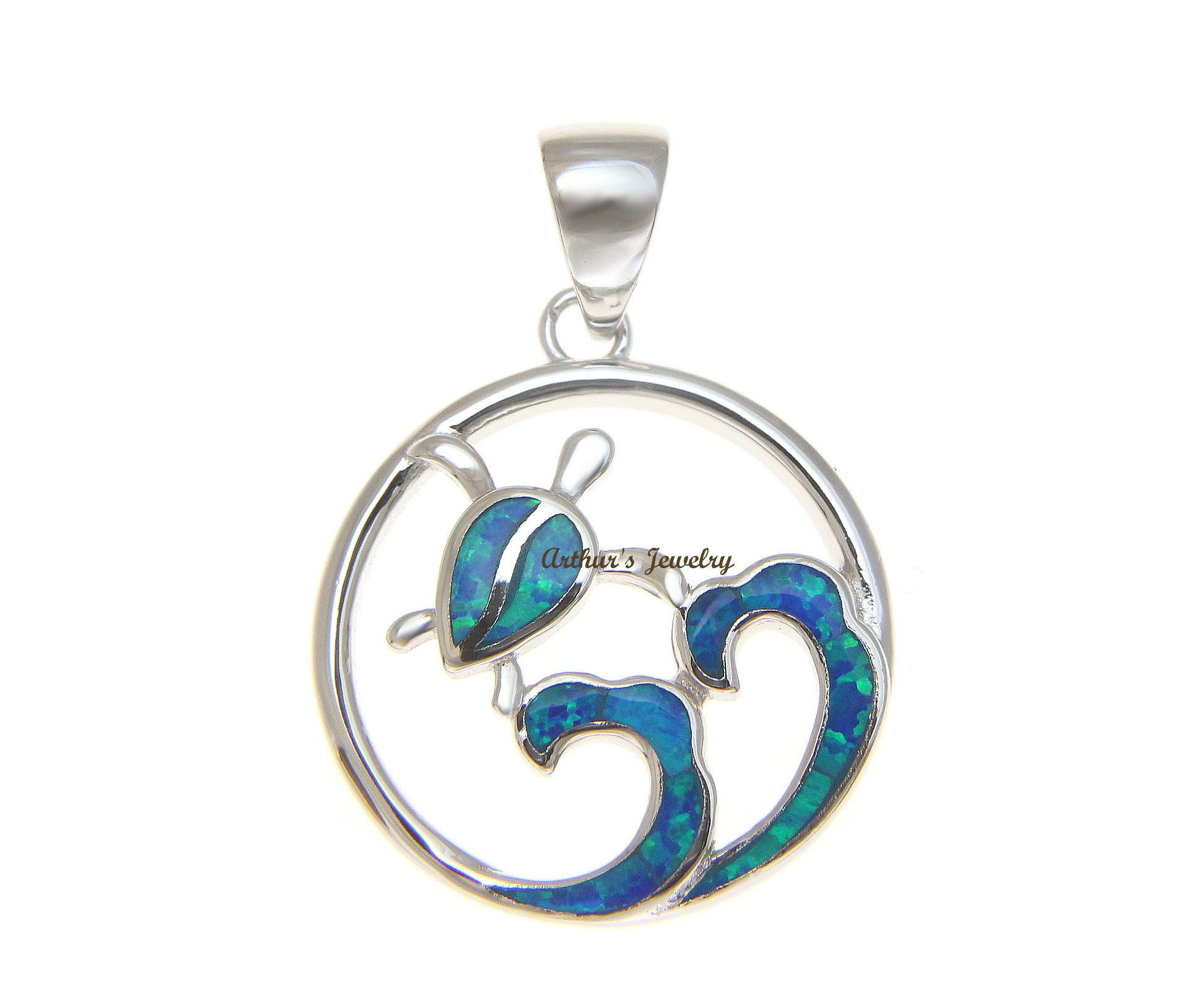 wave rhodium products sterling silver opal hawaiian small charm a aspc sop blue ocean pendant