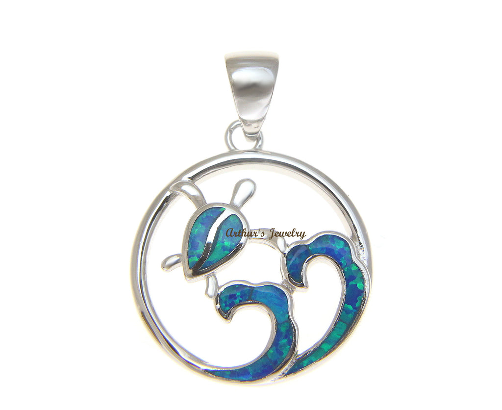 SOLID 925 STERLING SILVER OPAL HAWAIIAN OCEAN WAVE HONU TURTLE PENDANT 19.60MM