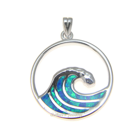 925 Sterling Silver Rhodium Hawaiian 23.5mm Ocean Wave Blue Opal Pendant Charm