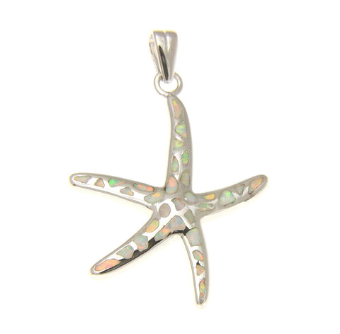 925 Silver Rhodium Hawaiian Starfish Sea Star White Opal Pendant Small Med Large