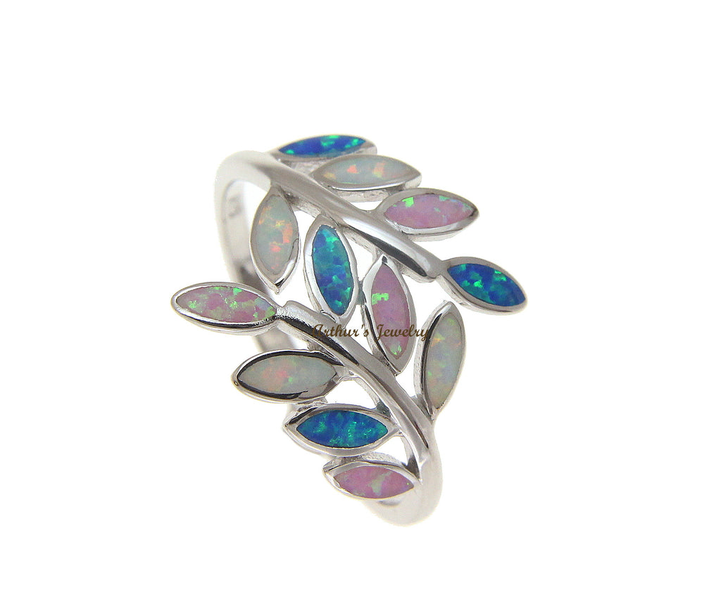 Blue White Pink Tricolor Inlay Opal Ring Hawaiian Maile