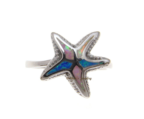 BLUE WHITE PINK TRICOLOR INLAY OPAL RING HAWAIIAN STARFISH 925 STERLING SILVER